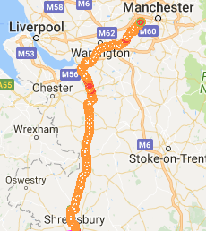 Shrewsbury to Manchester
